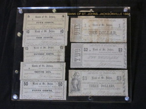 1862 Complete Set of Bank of St. Johns (March 1, 1862)
