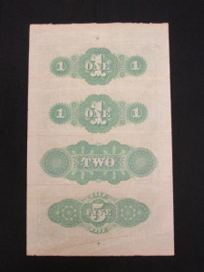 18__ Uncut & Unissued Sheet of Notes ($1, $1, $2, and $5) Green Backs