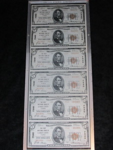1929 Type 2 Uncut Sheet of (6) $5 Notes Charter #7540