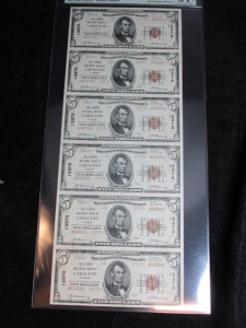 1929 Uncut Sheet of (6) $5 Type 2 Notes Charter #13370