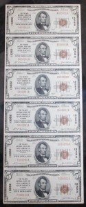 1929 Uncut Sheet of (6) $5 Type 1 Notes Charter #13352