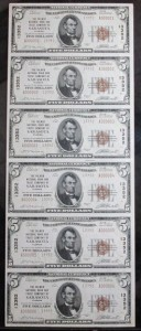 1929 Uncut Sheet of (6) $5 Type 2 Notes Charter #13352