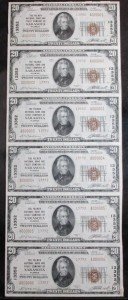 1929 Uncut Sheet of (6) $20 Type 2 Notes Charter #13352