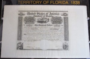 """Union Bank of Florida Type III Bond Issued in 1838 Signed by Governor R.K. Call and Treasurer T.H. Austin. """"America's Most Beautiful Bond"""""""