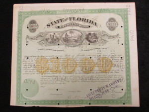 State of Florida $1000 Bond issued by the United States of America Interest Payable Semi Annually in American Gold Coin