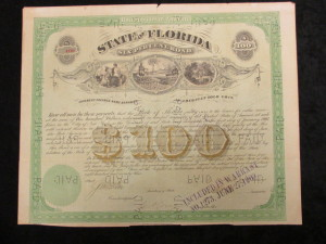 State of Florida $100 Bond issued by the United States of America Interest Payable Semi Annually in American Gold Coin