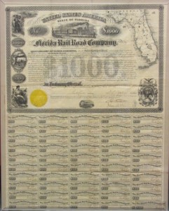Florida Railroad Company $1000 Bond Signed by Secretary Call