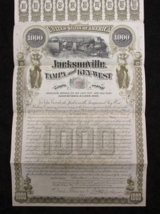 Jacksonville, Tampa, and Key West Railway Co. 50 Year Gold Bond $1,000 Principal Due