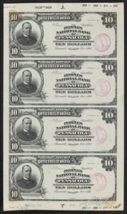 Peoples National Bank of Pensacola (Banks First Title) $10 Proof Sheet from the Smithsonian Project