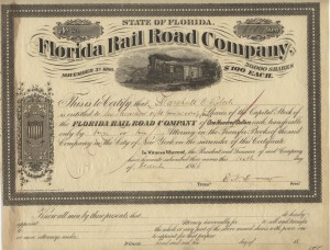 Nov. 3, 1866 30,000 Shares costing $100 each share.  Very rare stock certificate.