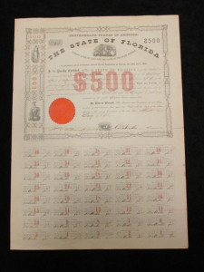 The State of Florida $500 Bond issued by the Confederate States of America dated July 1861. Signed by Austin, Treasurer