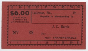 19__ J.C. Harris $6 Voucher Unissued