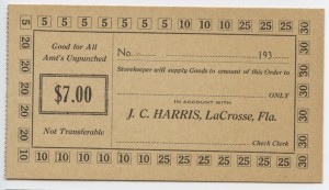 193_  J.C. Harris $7 Voucher Unissued