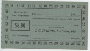 193_ J.C. Harris $8 Voucher Unissued