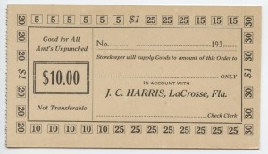 193_ J.C. Harris $10 Voucher Unissued