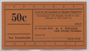 M.F. Wiggins .50 Cent Voucher Unissued