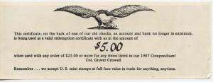 Grover C. Criswell check $5 Discount on any $25 purchase