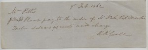 Feb. 9, 1862 check for $12.45 written to WM. Pettis (Cashier for State Bank of Florida) by R.K. Call (Governor 7th) 1841-1844
