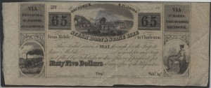 $65 Note or Ticket on the Brunswick & Florida Steam Boat & Stage Line.