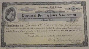 $100 Pinehurst Poultry Park Association Fund Certificate. Largo, Florida