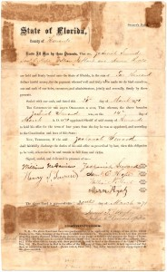 March 20, 1871 Hernando County Zacharial Seward elected sheriff pledging 4 years of service with this $2000 Bond