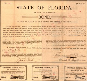"May 1, 1886 County of Orange ""Tropical Hotel"" $100 Bond"