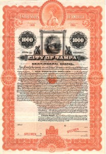 July 1899 $1000 Bond City of Tampa