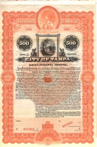 July 1899 $500 Bond City of Tampa