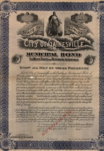 1891-1911 City of Gainesville County of Alachua Municipal Bond for Water Supply and Outstanding Indebtedness