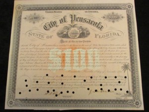 1881 City of Pensacola $100 Bond Signed by City Clerk and Mayor