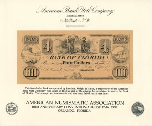 Official Souvenir Card of F.U.N. 101st Annual convention. Orlando, FL. 1992