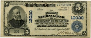 The First National Bank of Fort Lauderdale. 1902 Plain Back $5 Note Charter #12020