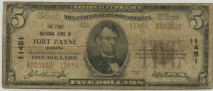 The First National Bank In Fort Payne Alabama. 1929 Type 2 $5 Note. Charter #11451