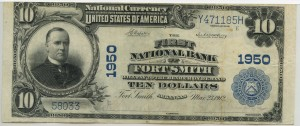 The First National Bank of Fort Smith. 1902 Plain Back $10 Charter #1950