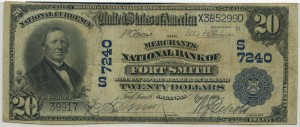 Merchants National Bank of Fort Smith. 1902 Plain Back $20 Note Charter #7240