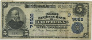 The First National Bank of Fort Bragg 1902 Plain Back $5 Charter #9626P