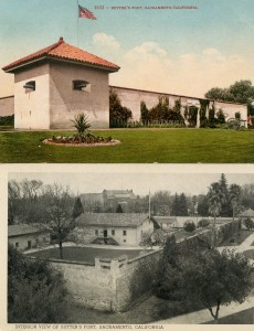 Sutter's Fort outside view and interior view