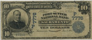 The Fort Sutter National Bank of Sacramento. 1902 Plain Back $10 Charter #7776