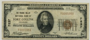 The Poudre Valley National Bank of Fort Collins. 1929 Type 1 $20 Note Charter #7837