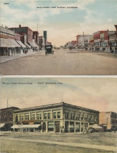 Main Street Fort Morgan and Fort Morgan County National Bank Postcard