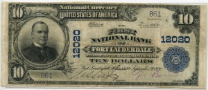 The First National Bank of Fort Lauderdale. 1902 Plain Back $10 Note ONLY 2 KNOWN Charter #12020