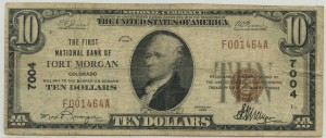 The First National Bank of Fort Morgan. 1929 Type 1 $10 Note Charter #7004