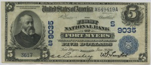The First National Bank of Fort Myers. 1902 Date Back $5 Note Charter #9035