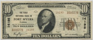 The First National Bank in Fort Myers. 1929 Type 2 $10 Note Charter #14195