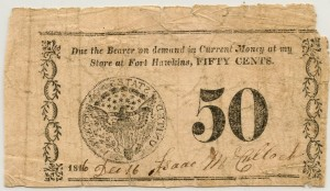 Isaac McCulloch Fort Hawkins, GA. .50 Cent Note Dec. 16, 1816