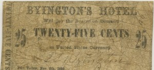 Byington's Hotel Fort Valley, GA. .25 Cent Note Nov. 6, 1855