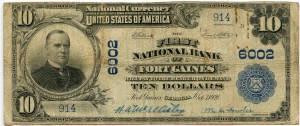 The First National Bank of Fort Gaines. 1902 Plain Back $10 Note Charter #6002