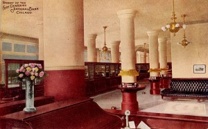 Fort Dearborn National Bank Lobby View Postcard