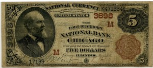 Fort Dearborn National Bank. 1882 Brown Back $5 Charter #3698M