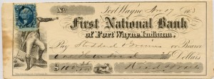 First National Bank of Fort Wayne. April 17, 1863 $100 Check